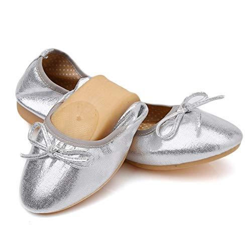 y el La de Boca de Casual otoño de Zapatos Zapatos Baile Silver Zapatos Zapatos Mujer Planos cómodos Cabeza Redonda Moda Primavera Baja Embarazada FLYRCX Trabajo de Plegable qEtCww