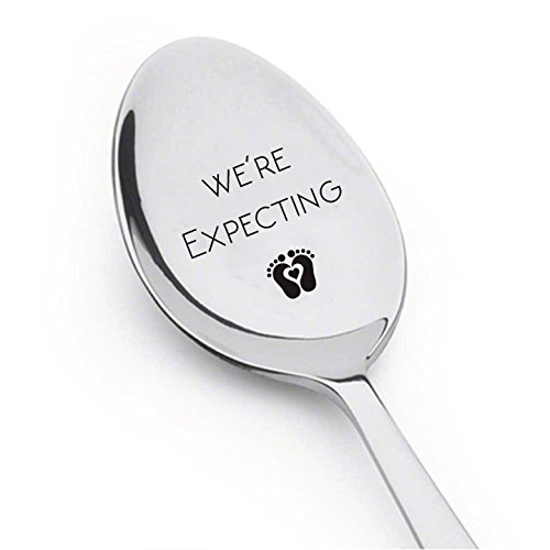 We're Expecting Spoon- Pregnancy Announcement Spoon- Best Selling Item -Engraved Unique Gift Ideas - Spoon Gift # A8 (Best Baby Announcement Ideas)