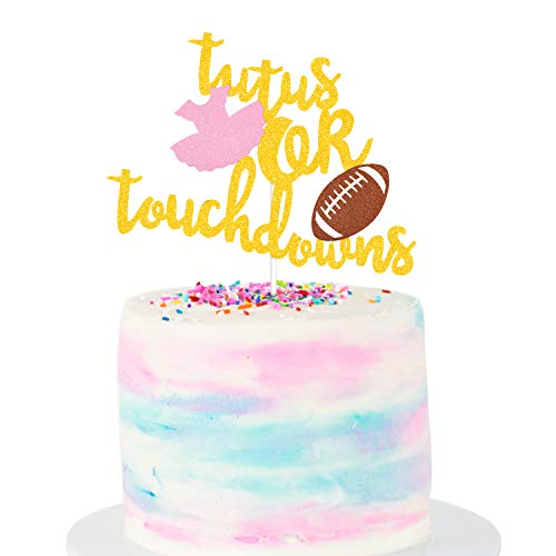 (Tutus or Touchdowns Gender Reveal Cake Topper Football Tutus Theme Gender Reveal Party Supplies Baby Shower Party Decoration Gold)