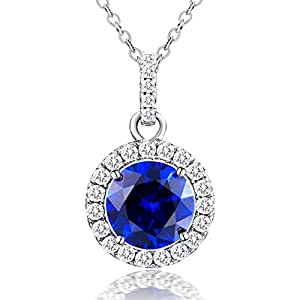 Vibrille Round Created Blue Sapphire Sterling Silver Pendant Necklace for Women with Halo Cubic Zirconia