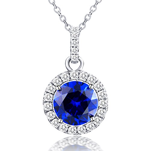 - Vibrille Sterling Silver Created Blue Sapphire Jewelry Halo Pendant Necklace for Women, 18''