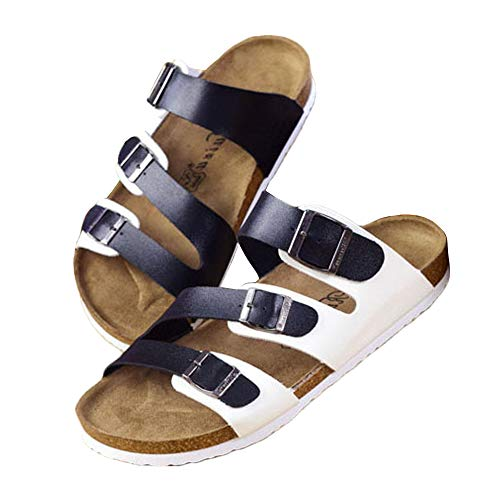 (FUUI Womens 2-Strap PU Leather Platform Comfortable Sandals Cork Sole Slide On Shoes)