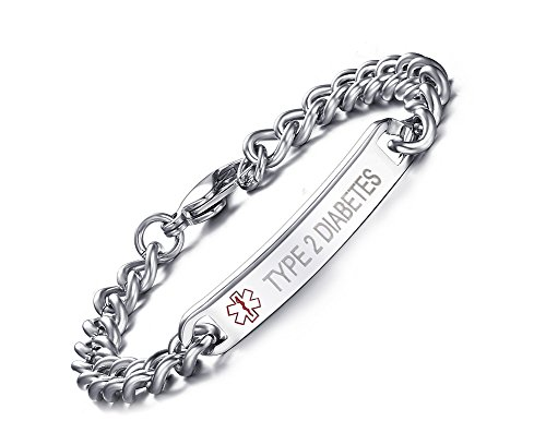 TYPE 2 DIABETES-8mm High Polished Surgical Steel Chain Medical Alert ID Bracelets for Men&Women,8