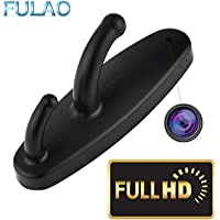 FULAO Hidden Spy Clothes Hook Cam Surveillance Full HD Covert 1280p Wireless Security Home Recorder Camera Black