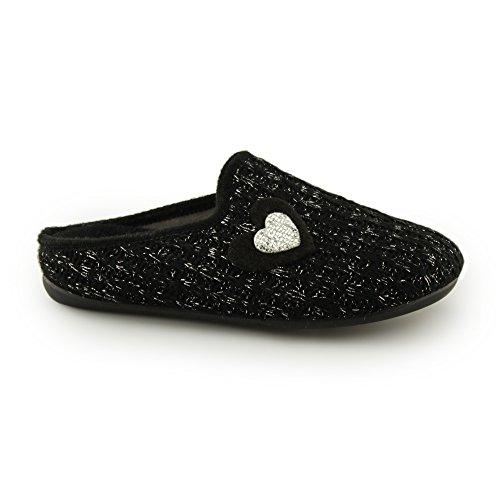 Fluffys JESSICA Ladies Mule Slippers Black Black NryRUy