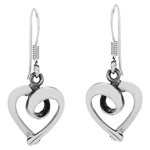 Ribbon .925 Sterling Silver Dangle Earrings (Loving Heart Earrings)