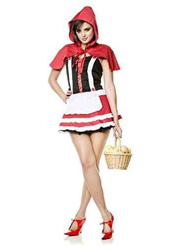 Women's Red Riding Hood,Red/Black,L (12/14) (Racy Red Riding Hood Costume)