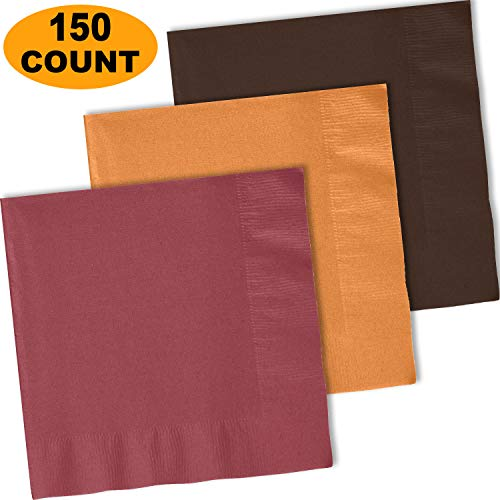 150 Lunch Napkins, Burgundy, Autumn Orange, Brown - 50 Each Color. 2 Ply Paper Dinner Napkins. 6.5