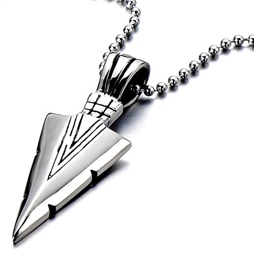 Stainless Steel Arrowhead Pendant Necklace Silver Polished with 23.6 Inches Steel Ball Chain Silver Arrowhead Pendant