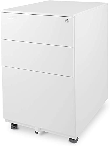 Aurora Modern SOHO Design 3-Drawer Metal Mobile File Cabinet with Lock Key Fully Assembled, White FC-103WT