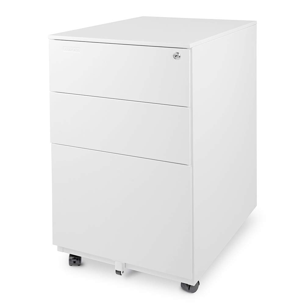 Aurora Modern SOHO Design 3-Drawer Metal Mobile File Cabinet with Lock Key Fully Assembled, White (FC-103WT) by AURORA