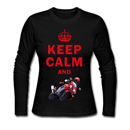 Women's Keep Calm And Play Motorcycle Racing Long Sleeve T Shirt Black