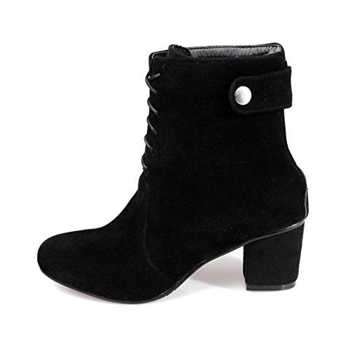 YE Damen Chunky Heels Ankle Boots High Heels Stiefeletten mit Reißverschluss und Schnürung Blockabsatz Bequem Elegant Schuhe Schwarz