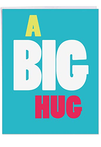 Big Hug - All Occasion Blank Greeting Card with Envelope (Extra Large 8.5 x 11 inch) - Big, Bold and Colorful All-Occasion Blank Card - Share the Love Stationery Notecard J9652 ()