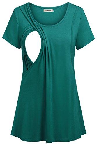 Nandashe Womens Nursing Tee Shirt Breastfeeding Short Sleeve Tunic Tops Aqua US Size 20 by Nandashe