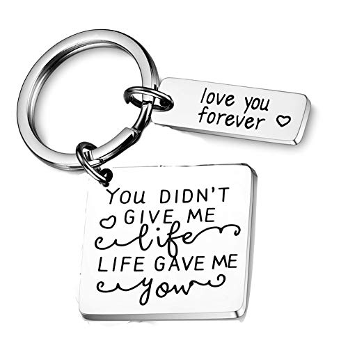 Gifts for Him Step Dad Bonus Fathers Day gifts Father in Law from Daughter You Did not Give Me Life Give Me You Gifts for Birthday dad Gift Step Mother in Law Son Keychain Stainless Steel Key Chain