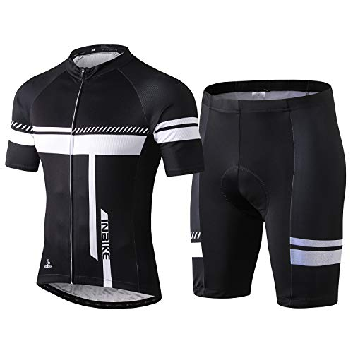 INBIKE Cycling Jersey Men Set Short Sleeve Bike Shirt Gel Padded Shorts for Summer Black L