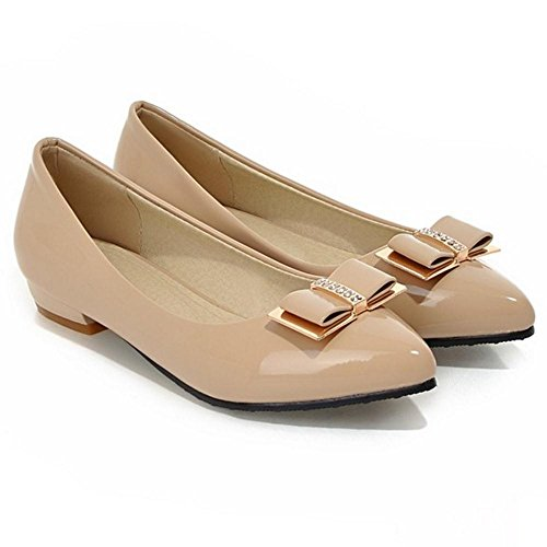 Shoes Court Fashion Low On Women's Slip Heel TAOFFEN Apricot xIXwq1pgn