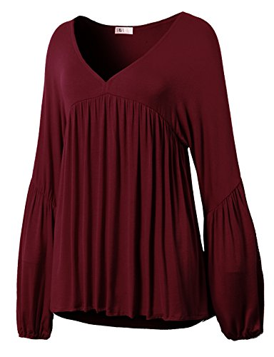 H2H Women's Multi Layered Tiered Pleated Ruffled Long Bell Sleeve Blouse Burgundy US 3XL/Asia 3XL (CWTTL0182) (Three Top Sleeve Tiered)