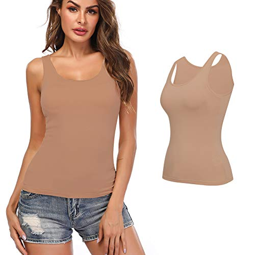 KIWI RATA Camisoles for Women with Built in Bra, Summer Sleeveless Shirt Casual, Comfortable Padded Bra Women cami for Yoga, Wide Straps Tank Top Beige - Cotton Skirt Kiwi