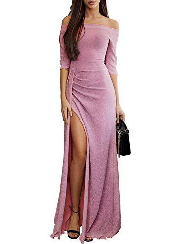 High Slit Long Maxi Dresses for Women Formal Sexy Bodycon Off The Shoulder Metaillic Formal Evening Party Wedding Rosy Large (US 12-14) L-rosy