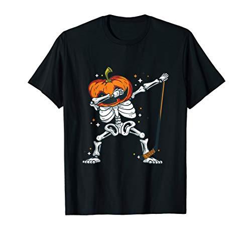 Dabbing Skeleton Hockey Player Halloween Dab Dance Costume T-Shirt