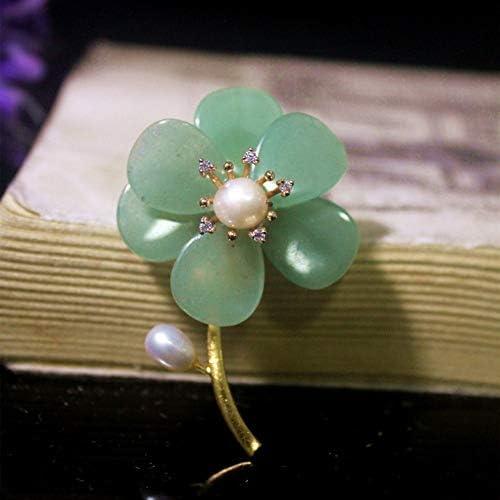 THTHT Brosche Anhänger Dual-Use-Shell Von Blume Frauen Zubehör Cyan Jade Flower Handmade Corsage Vintage Exquisite High-End-Schmuck