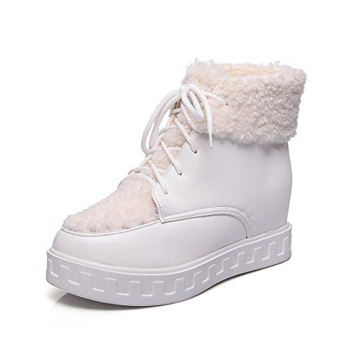 AllhqFashion Damen Mittler Absatz Rein Rund Zehe Weiches Material Schnüren Stiefel, Weiß, 37