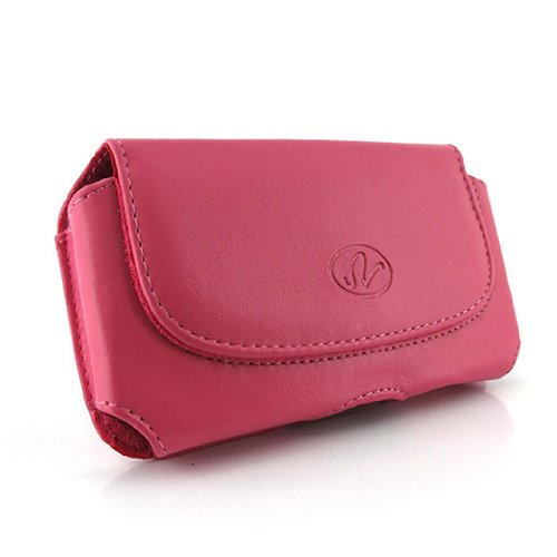 Pink Horizontal Leather Look Holster Case Pouch with Belt Loop and Belt Clip For Palm Treo 700p 700w 700wx 755p