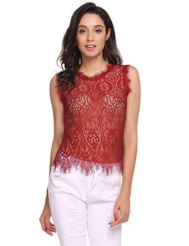 Zeagoo Women's Sexy See Through Round Neck Sleeveless Club Wear Floral Lace Tank Tops,Red,Medium (Lace Sexy Red Top)