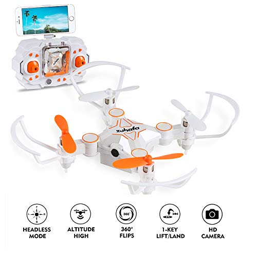 zuhafa RC Drone with Camera,Portable Mini Drone WiFi FPV 720P Camera Live Video for Beginners & Kids – 2.4GHz 4CH 6-Axis Gyro Pocket Quadcopter with Altitude Hold and Headless Mode