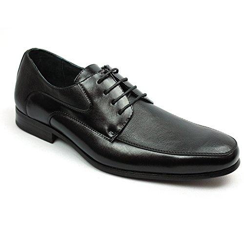 Ferro Aldo Men's Black Pointed Toe Dress Shoes Lace up Oxfords 19351 (11 U.S)
