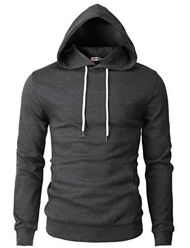 (H2H Mens Basic Slim Fit Long Sleeve Hoodie Sweatshirts Charcoal US XL/Asia 2XL (CMOHOL050))