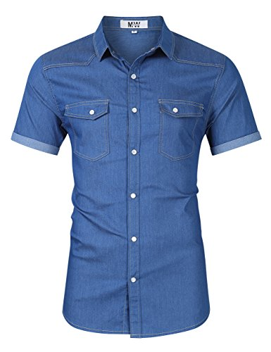 MrWonder Mens Casual Fit Button Down Shirts Short Sleeve Denim Shirts Western Shirt Light Blue L Collar Denim Shirt