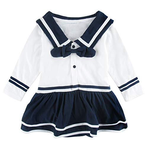 COSLAND Baby Girls' Sailor Bodysuit with Bow-tie (White, 12-18 Months) -