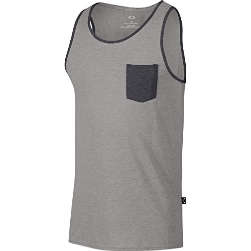 Oakley Men's 50/50 Pkt Tank, Athletic Heather Grey, Large (Mens Pocket Tops Tank With)