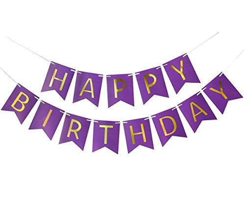 Happy Birthday Party Decoration Kit Purple Happy Birthday Banner With Purple Tissue Paper Pom Poms Paper Flowers by Wcaro (Image #4)