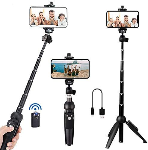 Portable 40 Inch Aluminum Alloy Selfie Stick Phone Tripod with Wireless Remote Shutter Compatible with iPhone 12 11 professional Xs Max Xr X 8 7 6 Plus, Android Samsung Smartphone