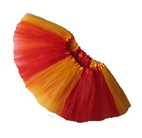 Southern Wrag Company ADULT TEAM SPIRIT Tutu RED GOLD Sizes S-XXL (XL: TUTU WAIST 34-60) (Adult Plus Size Kansas Girl Costume)