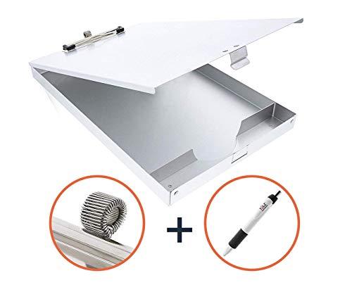 Aluminum Clipboard Heavy Duty Metal | Latched Closure Storage Case Box | Pen Holder + Free Bonus Pen Included Contractor EMT Nurse - Box Metal Pen
