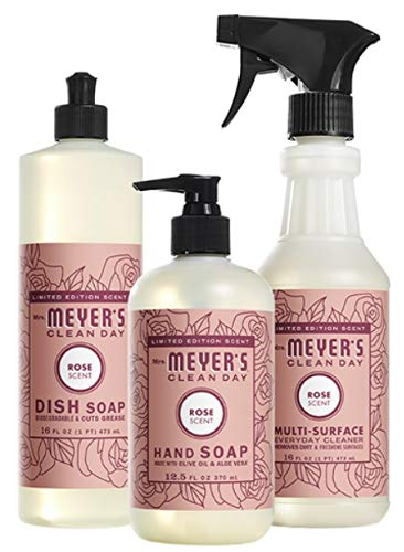 Mrs. Meyer's Rose Scent Kitchen Basics Set, 3 ct: Dish Soap, Hand Soap, Multi-Surface Everyday Cleaner