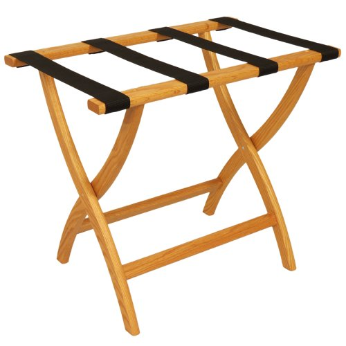 Oak Luggage Rack (Folding Solid Oak Deluxe Luggage Rack w Four Support Straps (Light Oak with Black Webbing))