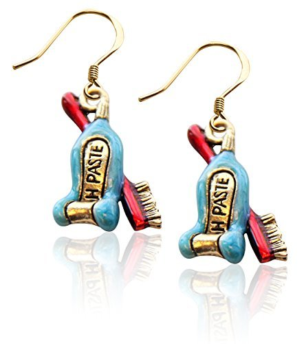 Tooth Paste with Brush Charm Earrings in Gold by Whimsical Gifts