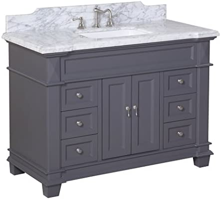 Amazon Com Elizabeth 48 Inch Bathroom Vanity Carrara Charcoal Gray Includes Charcoal Gray Cabinet With Authentic Italian Carrara Marble Countertop And White Ceramic Sink Home Improvement