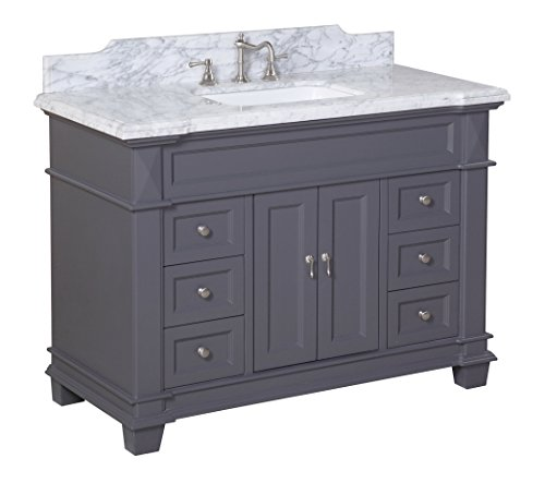 Bath Elizabeth (Kitchen Bath Collection KBC5948GYCARR Elizabeth Bathroom Vanity with Marble Countertop, Cabinet with Soft Close Function and Undermount Ceramic Sink, Carrara/Charcoal Gray, 48