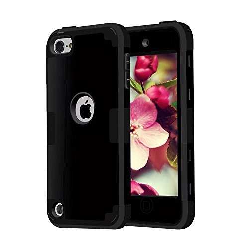 iPod Touch 5 6 Cases, CheerShare Dual Layer Shockproof Hard Case Cover for Apple iPod Touch 5th 6th Generation (Black) - Ipod 5th Generation Black Case