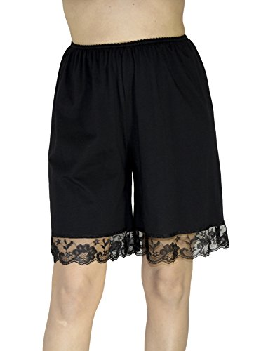 Underworks Pettipants Cotton Knit Culotte Slip Bloomers Split Skirt 9-inch Inseam 2-Pack X-Large-Black