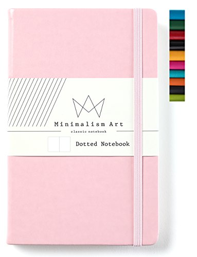 Minimalism Art, Classic Notebook Journal, A5 Size 5 X 8.3 inches, Pink, Dotted Grid Page, 192 Pages, Hard Cover, Fine PU Leather, Inner Pocket, Quality Paper-100gsm, Designed in San Francisco