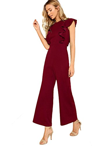 ROMWE Women's Sexy Casual Sleeveless Ruffle Trim Wide Leg High Waist Long Jumpsuit Burgundy M