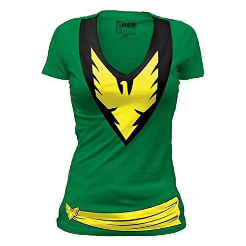 [X-Men Phoenix Costume Junior Ladies V-Neck Shirt-Junior XX-Large [JXX]] (Women X Men Costumes)